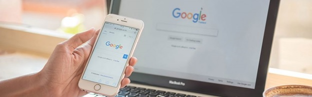 Google browser on phone and laptop