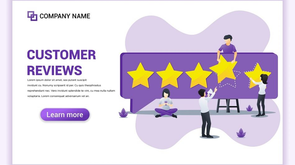 Customer reviews concept with people giving five stars rating - The Ad Firm - Carlsbad