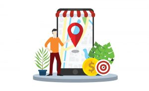 Local seo market strategy business search engine optimization with business man stand in front of mobile smartphone with maps online - The Ad Firm