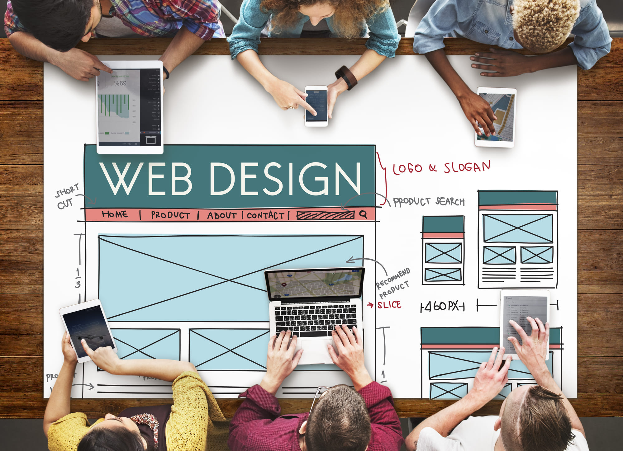web designing team planning